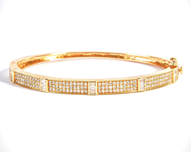 14KT Gold Diamond with Baguette Diamonds Bangle Bracelet, NEW