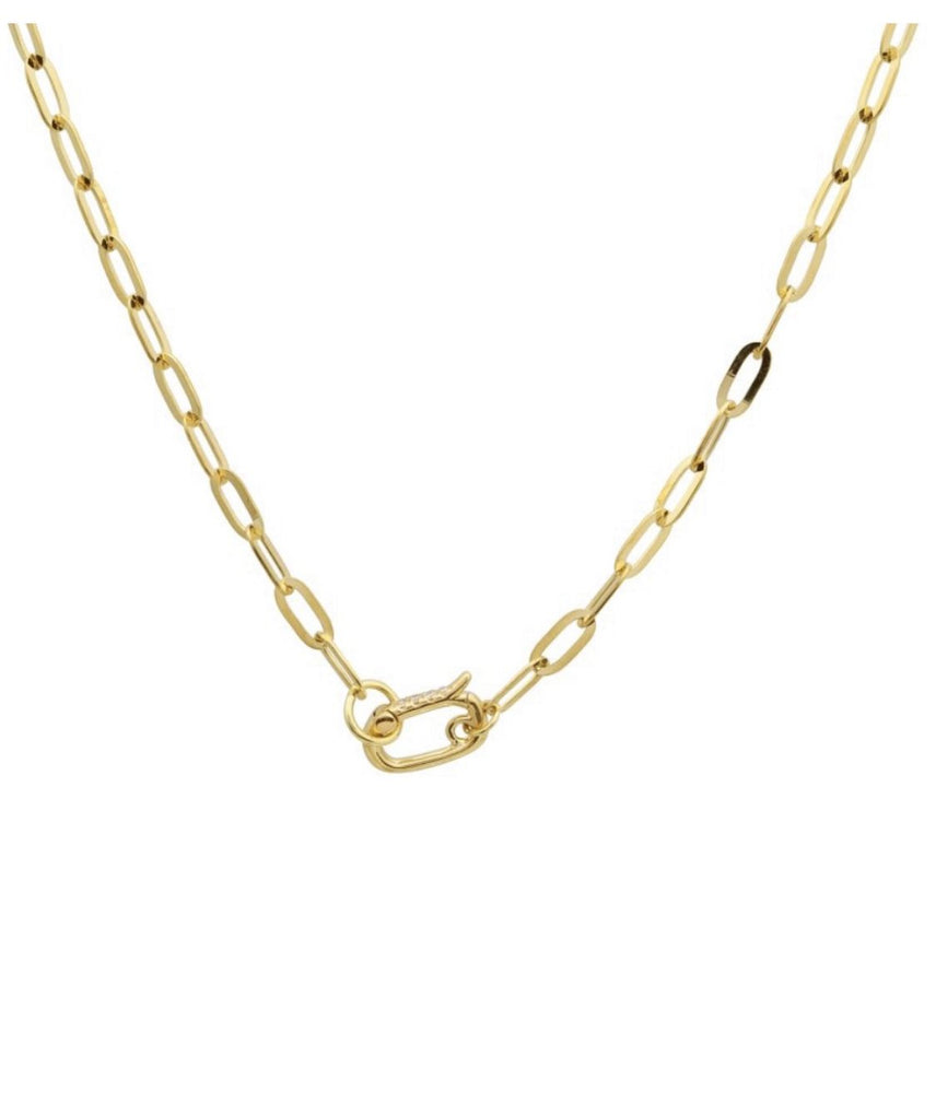 Load image into Gallery viewer, 14KT Gold Lulu Link Chain with Diamond Clasp