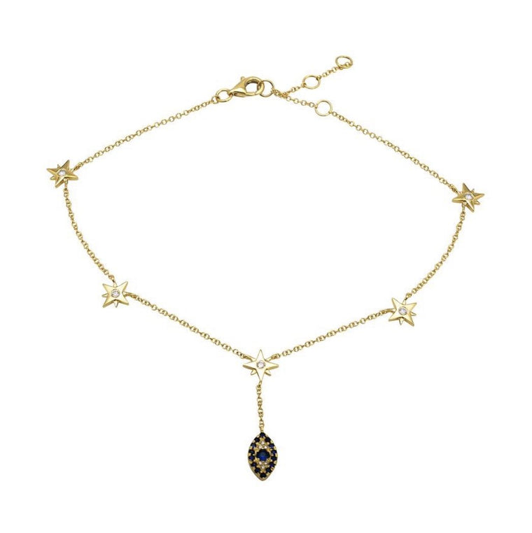 14KT Gold Diamond Stars and Evil Eye Anklet, NEW