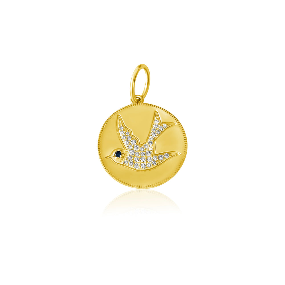 Load image into Gallery viewer, 14KT Gold Diamond Dove Disk Charm, Pendant, NEW