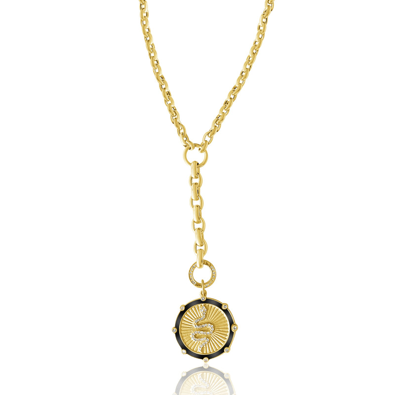 14KT Gold Lariat Chain with openable Diamond Clasp, NEW
