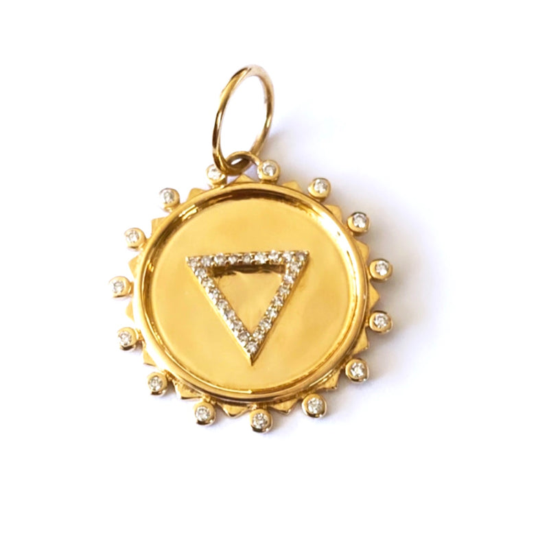 14KT Gold Diamond Triangle Disk Pendant Charm, New