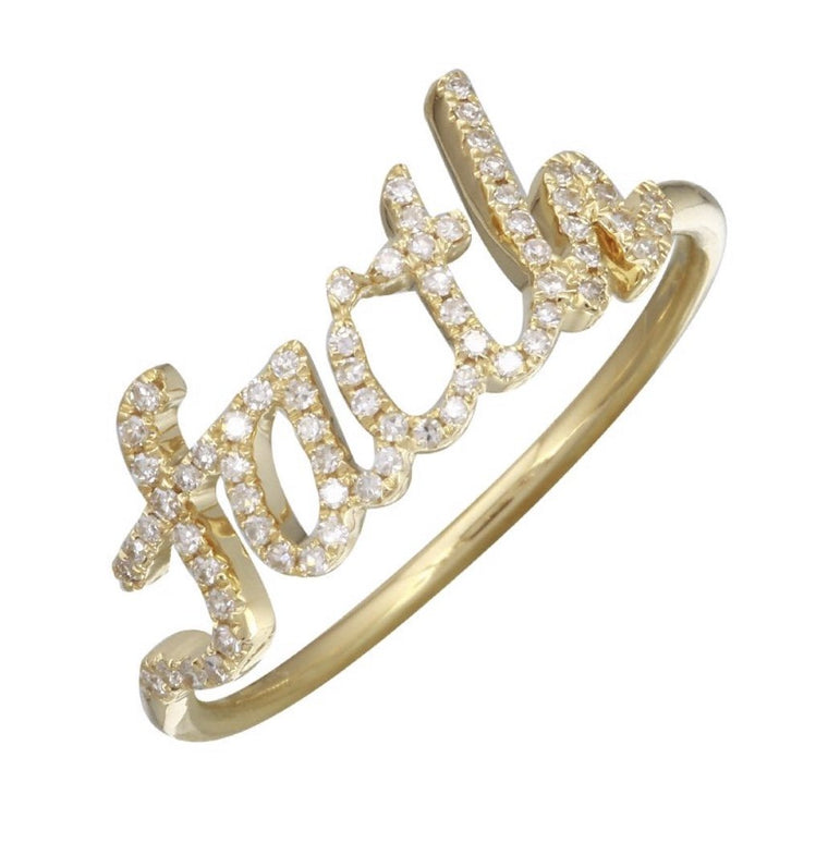 14KT Gold, Diamond Personalized Custom Name Ring