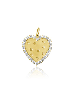 14KT Gold Diamond Magnificent Heart Pendant Charm, NEW