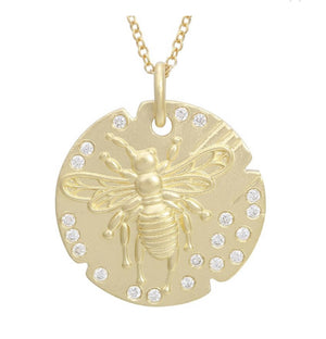 14KT Gold Diamond Coin Bee Necklace