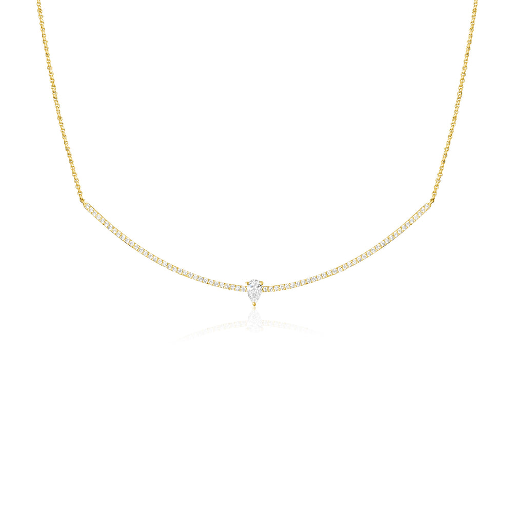 14KT Gold, Diamond Gabby Bar Necklace, NEW