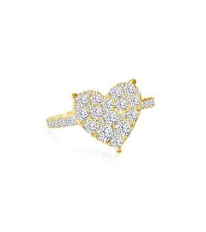 14KT Gold Diamond Claude Heart Ring, NEW