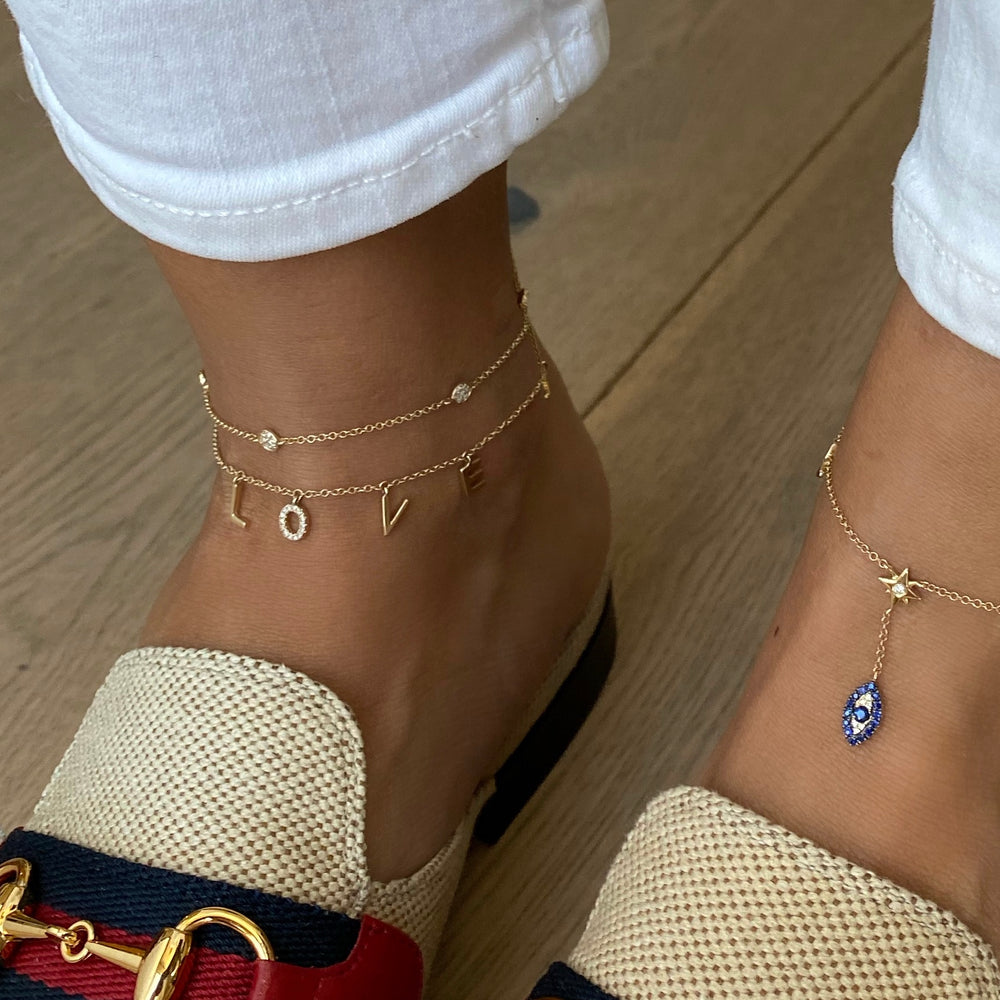 14KT Gold Diamond LOVE Anklet, NEW