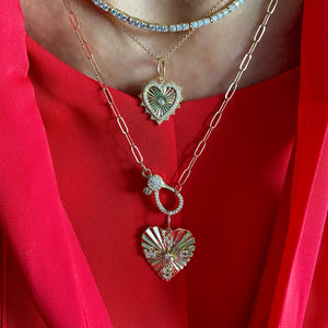 14KT Gold Diamond Mini Scalloped Heart Pendant Charm, NEW