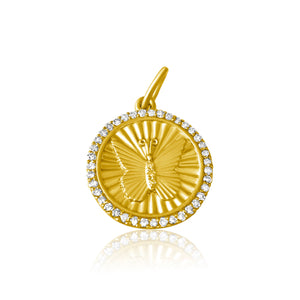 14KT Gold Diamond Butterfly Disk Charm Pendant, NEW