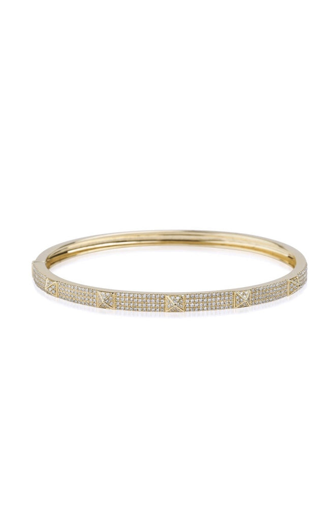 14KT Gold Diamond Luxe Spike Bangle Bracelet, NEW