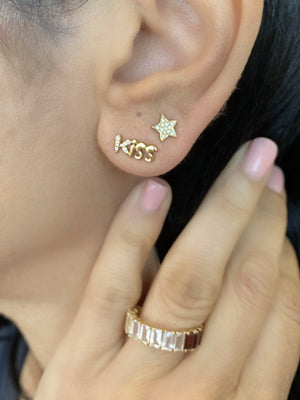 14KT Gold Diamond Star Stud Earrings