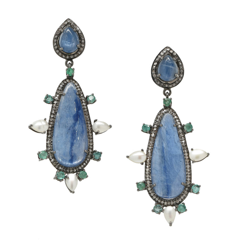 Blue Kyanite, Emerald, Pearl, Diamond Statement Earrings NEW