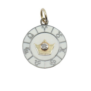 Load image into Gallery viewer, 14KT Gold/Black Rhodium, Diamond, Enamel Zodiac Disc Pendant Charm, New
