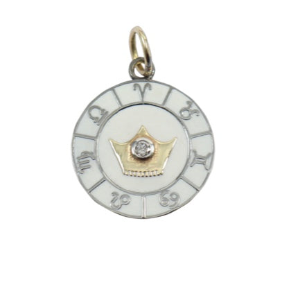 14KT Gold/Black Rhodium, Diamond, Enamel Zodiac Disc Pendant Charm, New