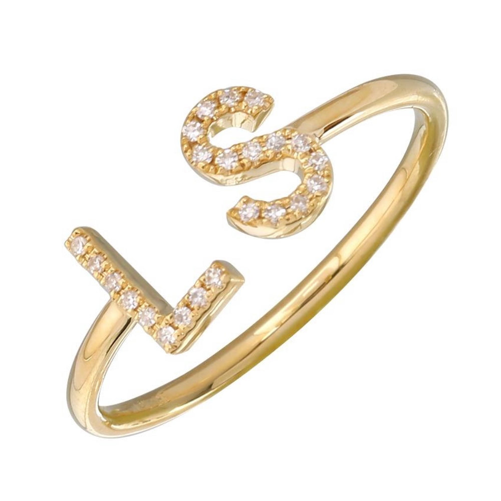 14KT Gold Diamond Custom Initial Ring, NEW