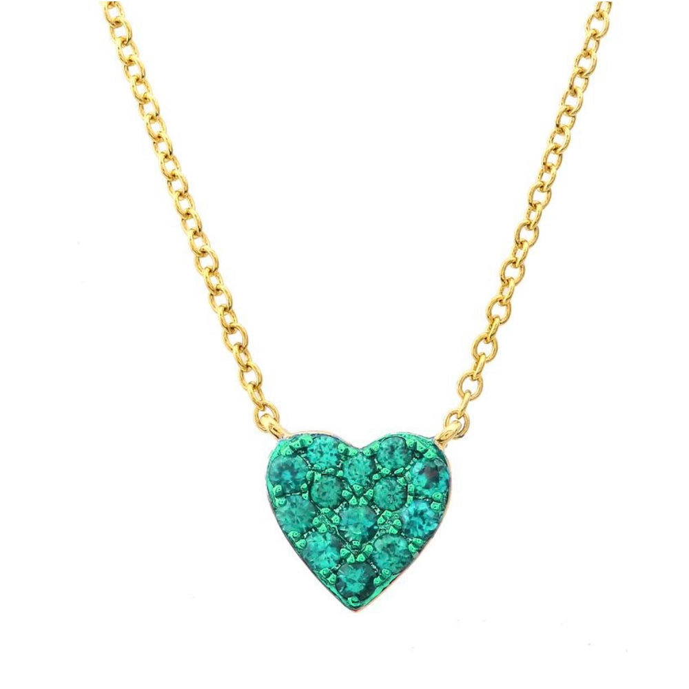 14KT Gold Gemstone Heart Necklace, NEW