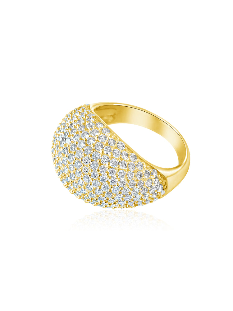 14KT Gold Diamond Luxe Bombe Ring, NEW