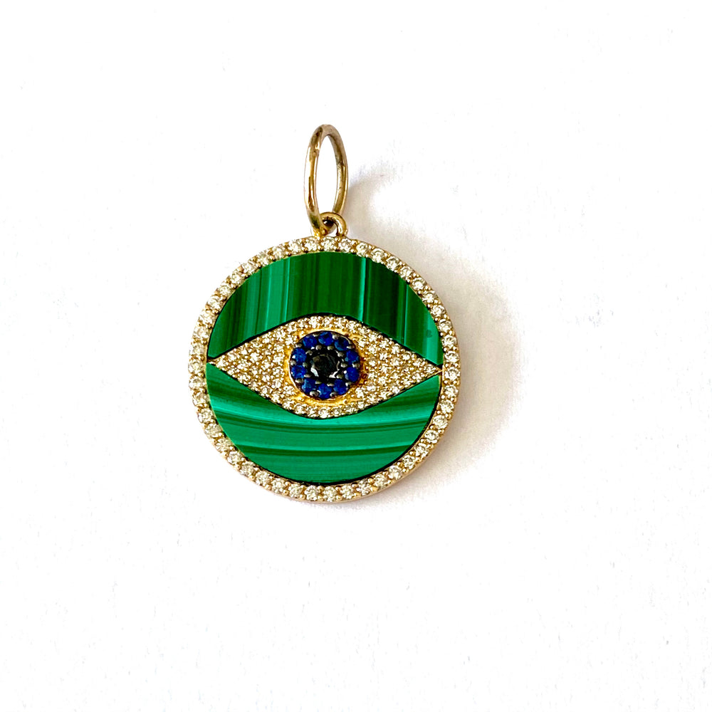 14KT Gold, Malachite Evil Eye Pendant Charm, NEW