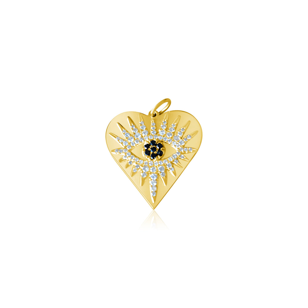 Load image into Gallery viewer, 14KT Gold Diamond Evil Eye Heart Pendant Charm, NEW