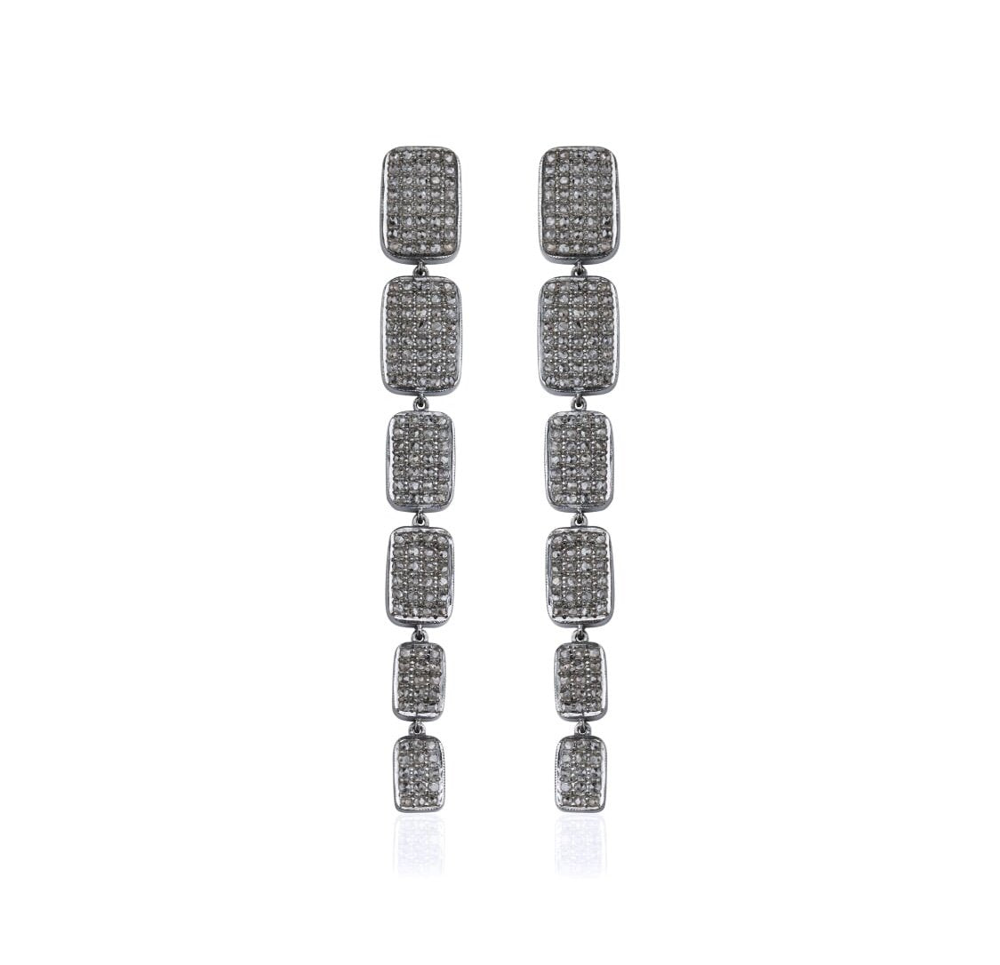 Black Rhodium Diamond, Astrid Drop Earrings, NEW