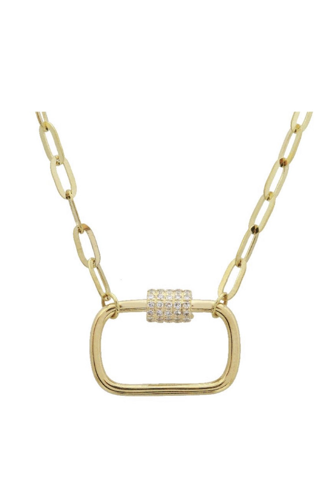 14KT Gold Diamond Lock Chain Necklace, NEW