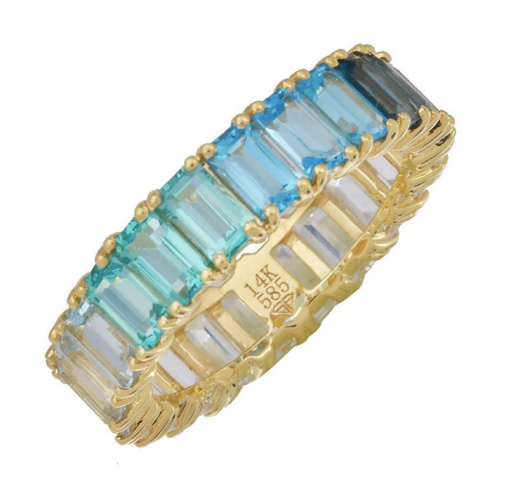 14KT Gold Blue Ombré Ring