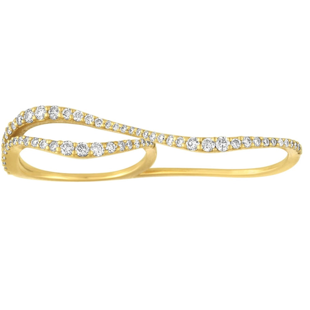 14KT Gold Diamond Two Finger Ring, NEW