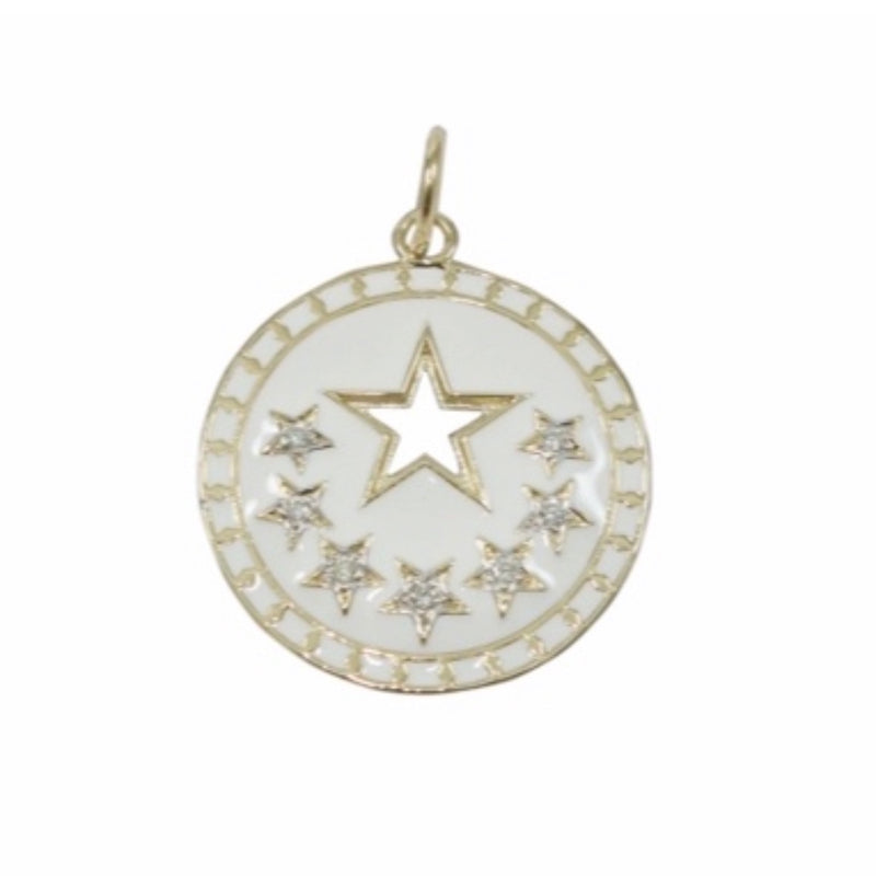 14KT Gold Diamond White Enamel Star Disk Pendant Charm, New