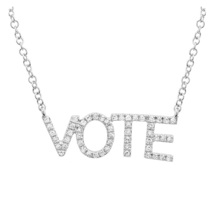 14KT Gold Diamond VOTE Necklace