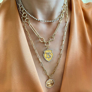 14KT Gold 4ct Bezel Illusion Set Tennis Necklace