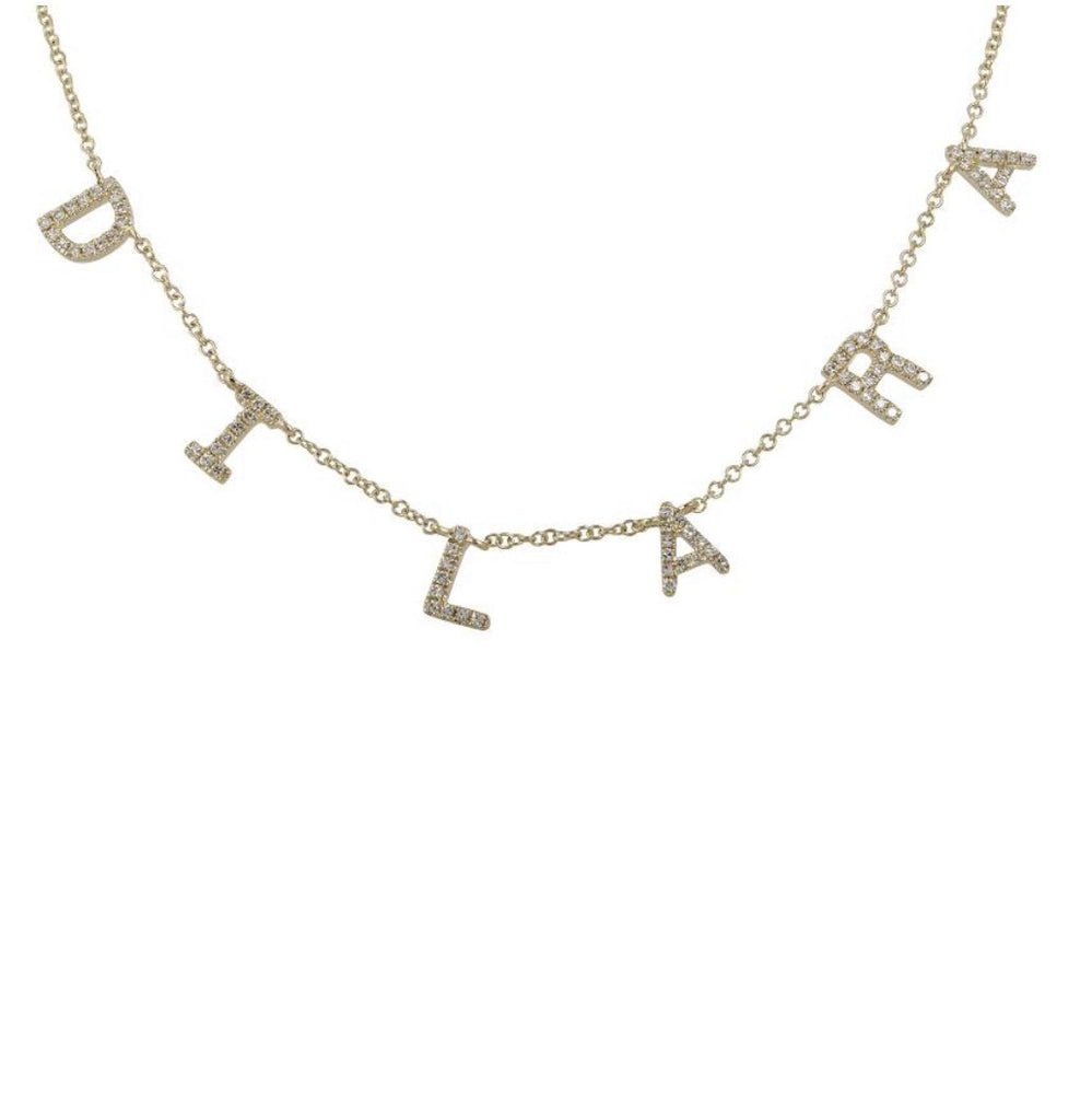 14KT, Diamond Personalized Custom Name Necklace - DilaraSaatci