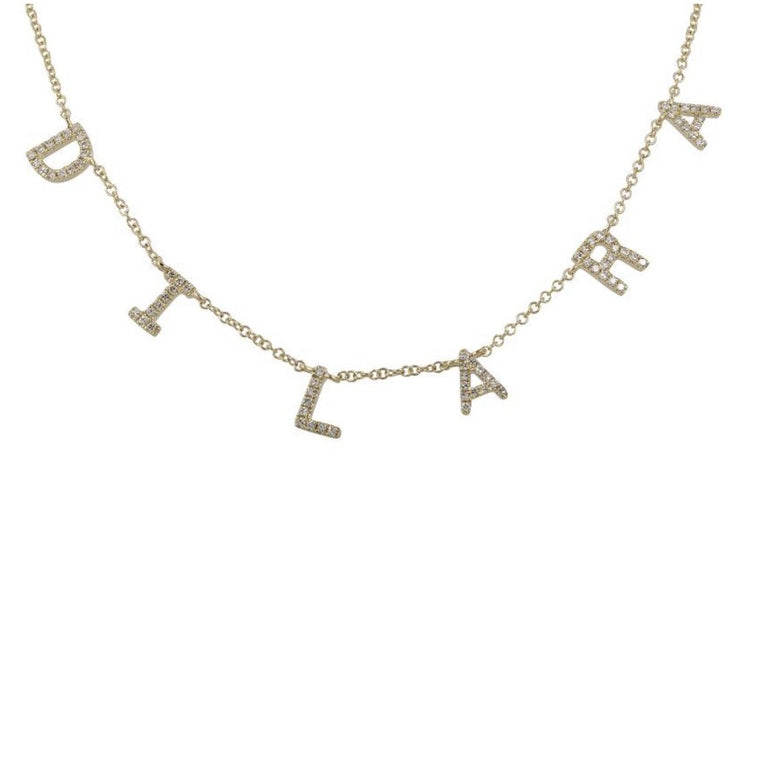 14KT, Diamond Personalized Custom Name Necklace