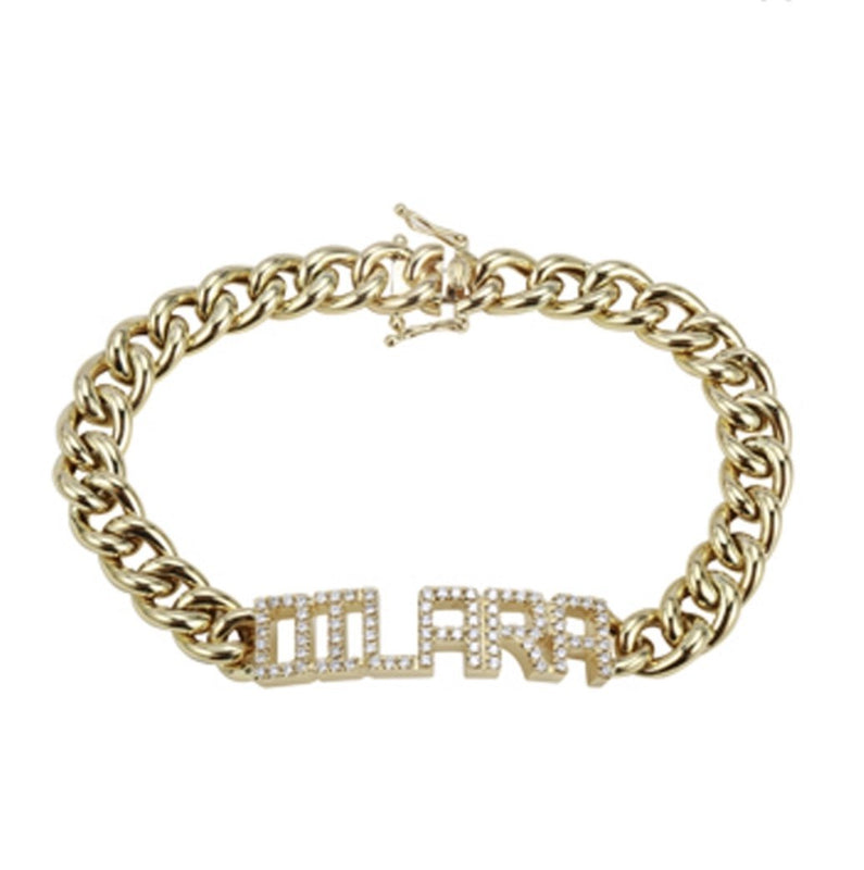 14KT, Diamond Personalized Custom Name Bracelet - DilaraSaatci