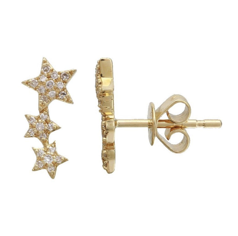 14KT Gold Diamond Triple Star Stud Earrings, New