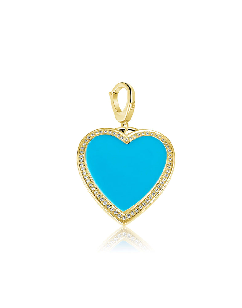 14KT Gold Diamond Turquoise Heart Pendant Charm, NEW