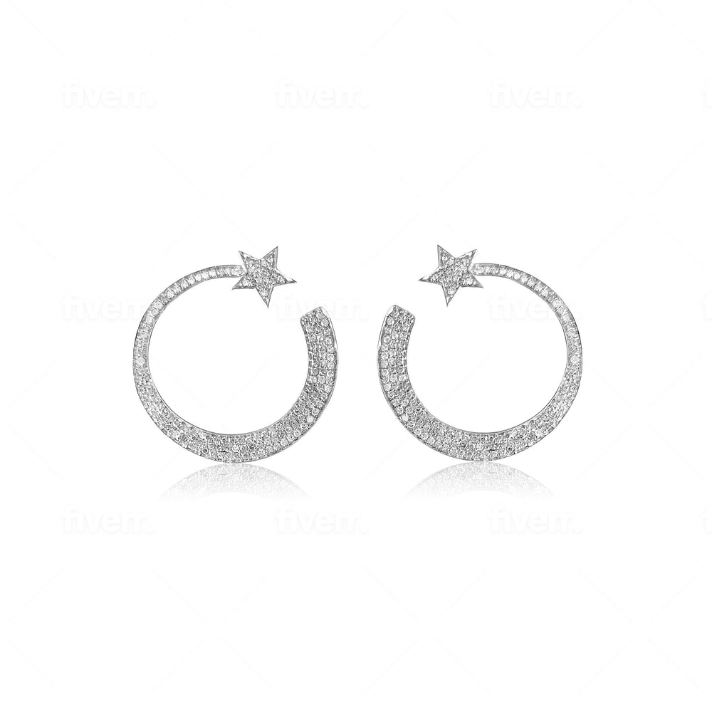 14KT Gold Diamond Emmeline Earrings, NEW