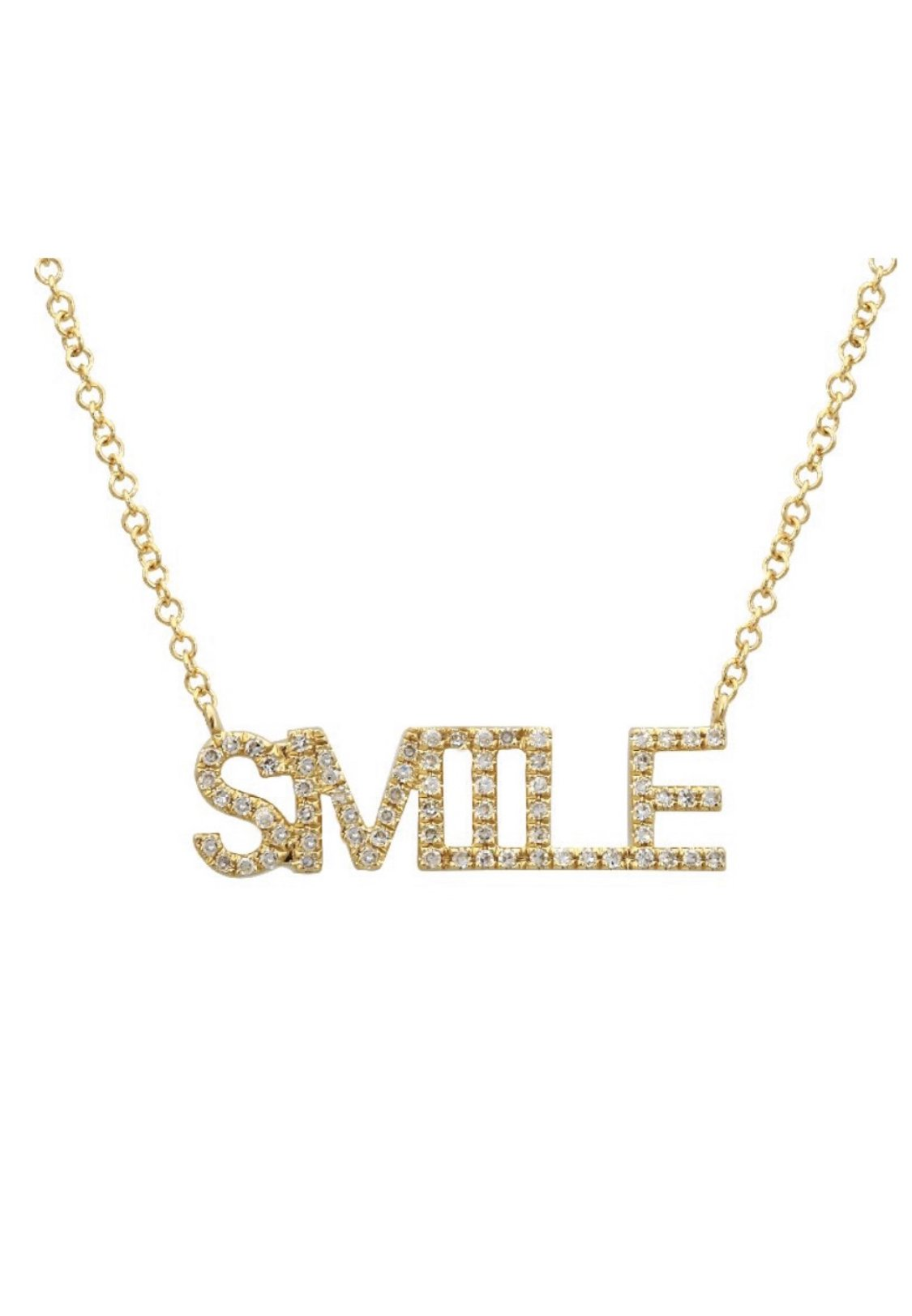 14KT Gold Diamond SMILE Necklace, In stock