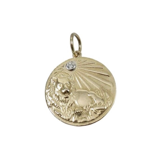 14KT Gold Diamond Lion Disk Charm Pendant, NEW