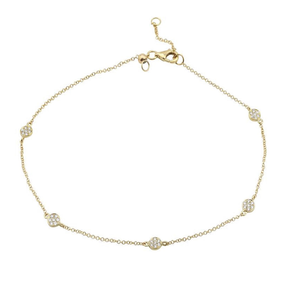 14KT Gold Diamond Circles Anklet, NEW