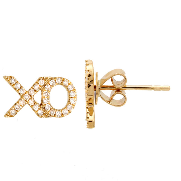 14KT Gold Diamond, XO XO Stud Earrings, In Stock