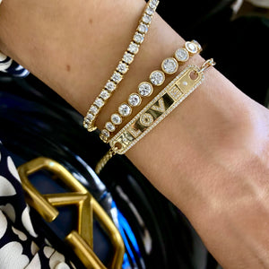 14KT Gold Diamond Luxe Jumbo Slider Tennis Bracelet, NEW