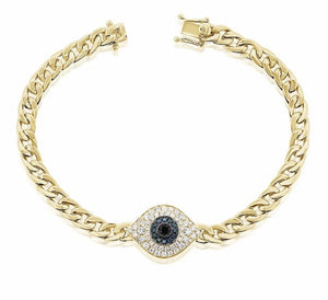 14KT Gold Diamond Evil Eye Chain Bracelet