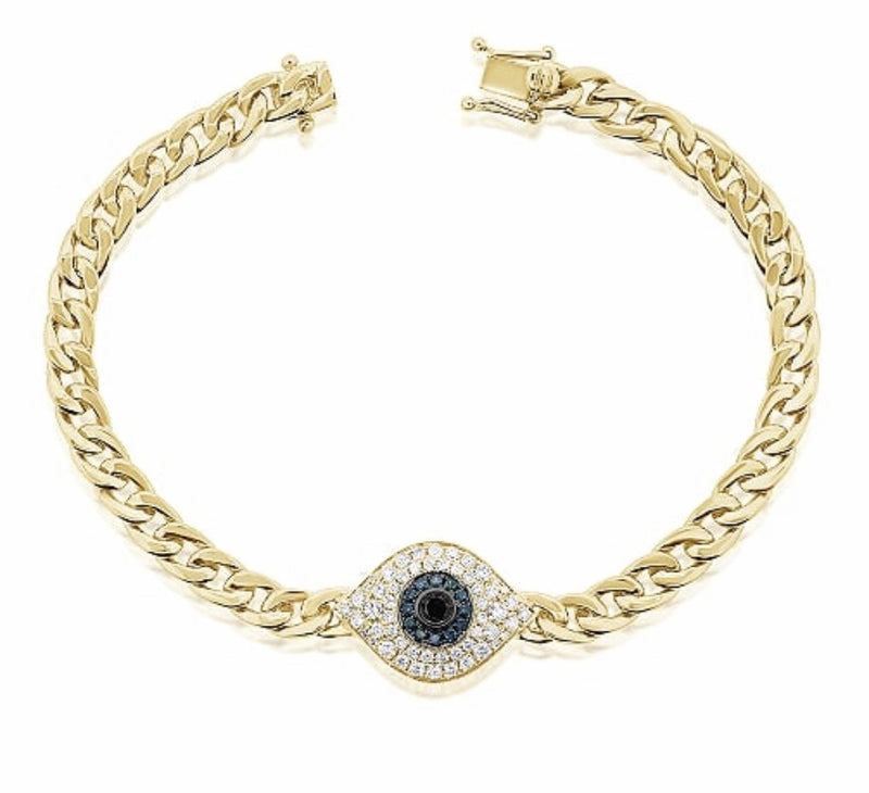 14KT Gold Diamond Evil Eye Chain Bracelet, NEW