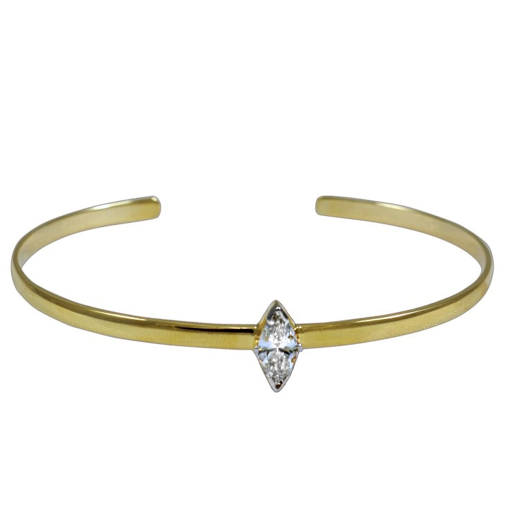 14KT Gold Marquise Diamond Cuff Bangle, NEW
