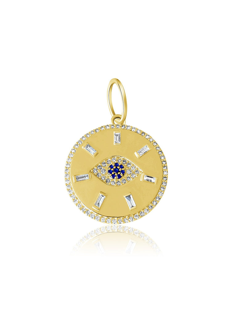 Load image into Gallery viewer, 14KT Gold Diamond Mel Evil Eye Disk Pendant Charm, NEW