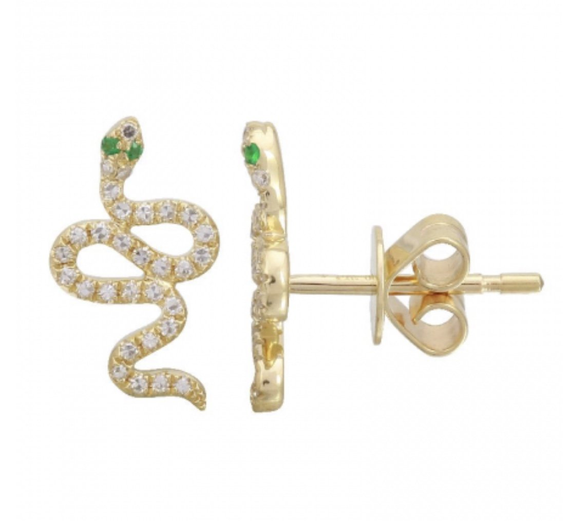14KT Gold, Diamond and Sapphire Snake Ear Climber Earrings - DilaraSaatci
