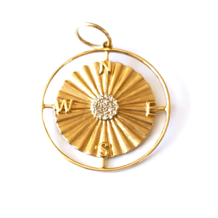 14KT Gold Diamond Compass Disk Pendant Charm, New