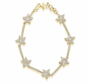 14KT Gold Diamond Luxe Star Tennis Bracelet