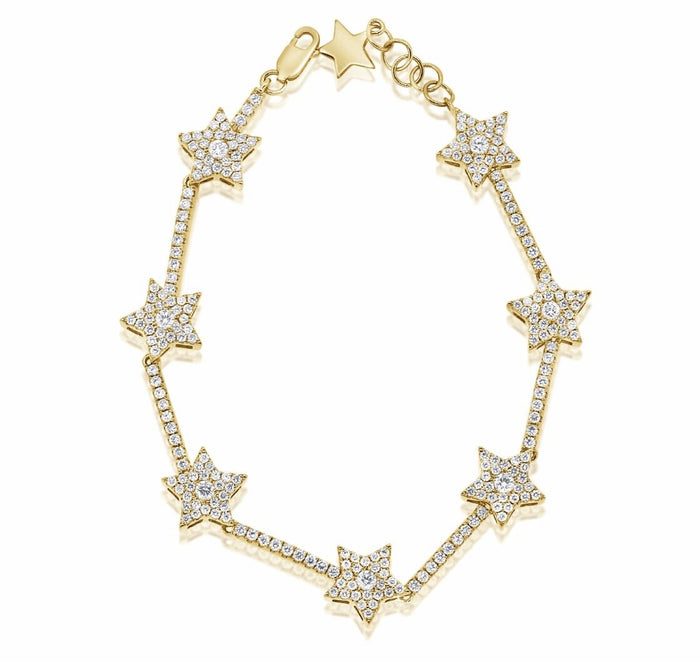 14KT GOLD Diamond Luxe Star Tennis Bracelet, NEW
